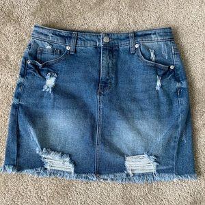 Distressed Jean Mini Skirt